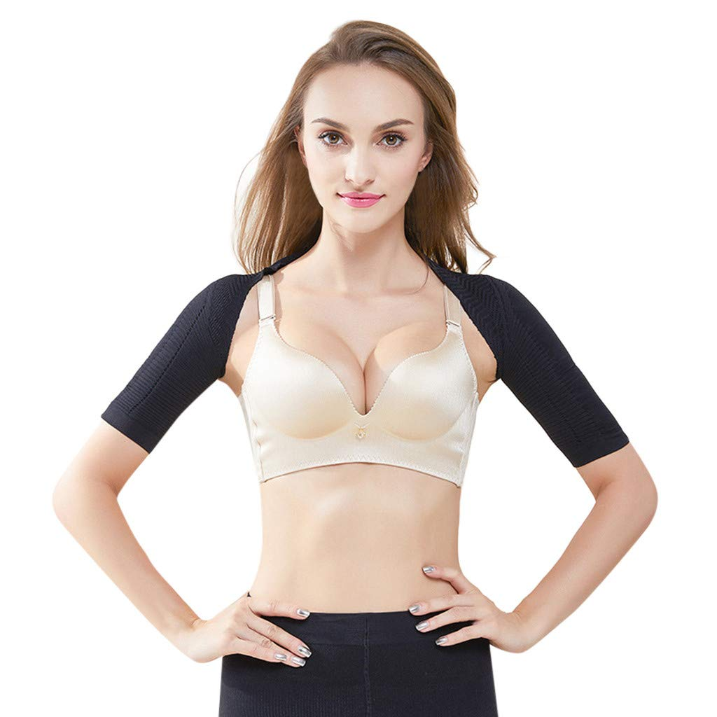 Allywit- Women Half Sleeve Shaper Slimmer Arm Shapers Back Shoulder Support Wrap Correct Posture Corrector Humpback Prevent Shapewear