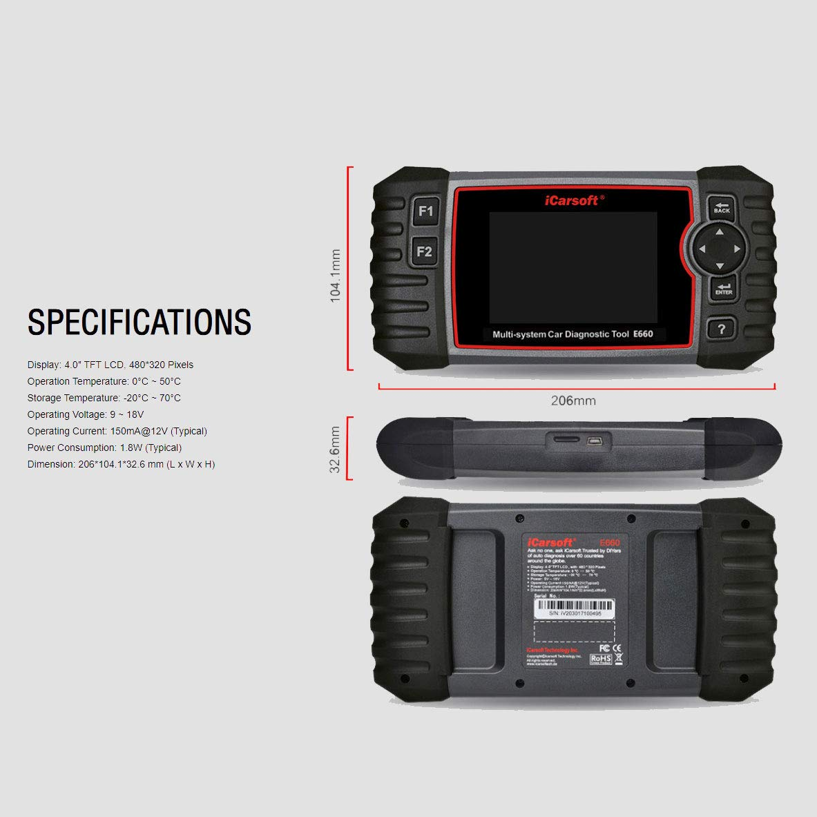 iCarsoft E660 ABS+SRS+SAS+EPB+OBD II Diagnostic Tool by iCarsoft (Image #4)