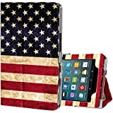 Ztotop Folio Case for All-New Amazon Fire 7 Tablet (7th Generation, 2017 Release) - Smart Cover Slim Folding Stand Case with Auto Wake/Sleep for Fire 7 Tablet,USFlag