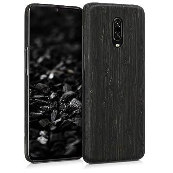 kalibri Funda para OnePlus 6T - Carcasa Trasera Ultra Delgada de Madera - Cover Protector Negro