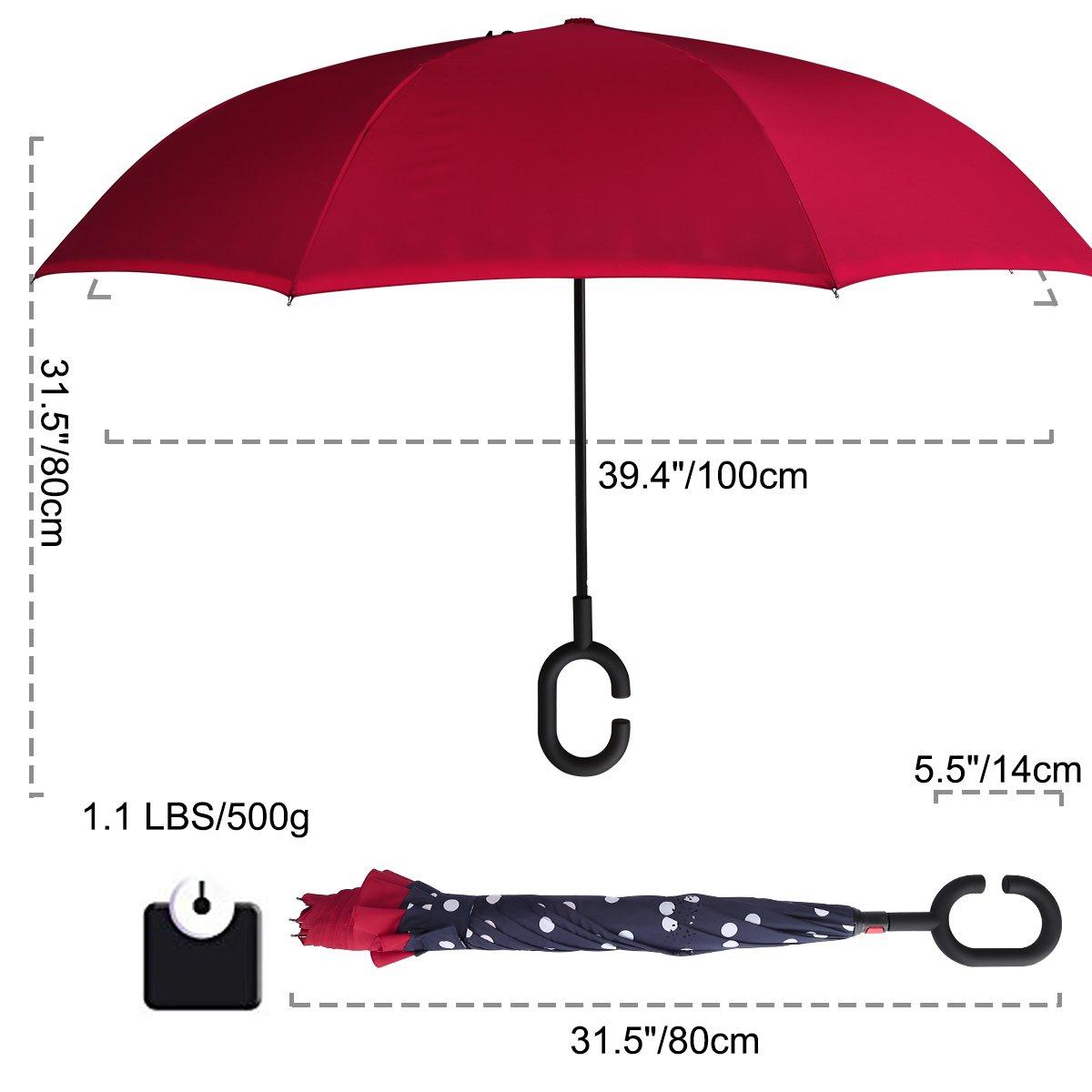 Amazon.com: G4Free - Paraguas de doble capa invertido para ...