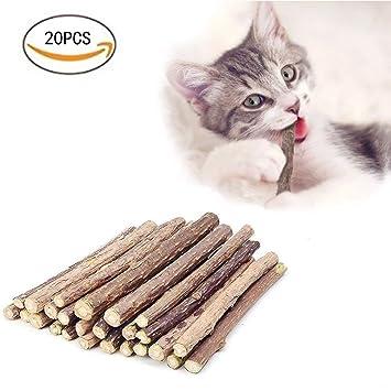 AIDIYA Palos de gato para gato, 100% orgánico, maatabi, tratamiento dental, juguetes para masticar y enriquecer para gatos, 20 unidades