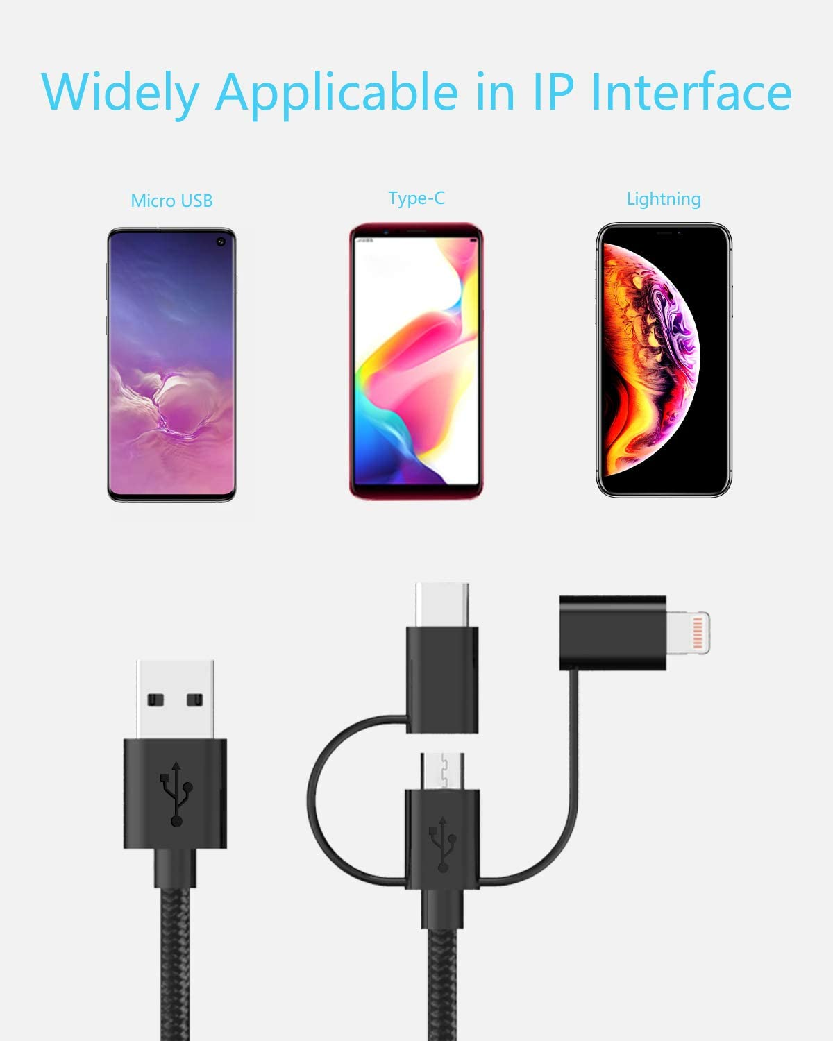 USB Lightning Cable Red Zebra Skin Man Skull Multi 3 in 1 Retractable Long USB Cable with Micro USB//Type C Compatible with Cell Phones Tablets and More