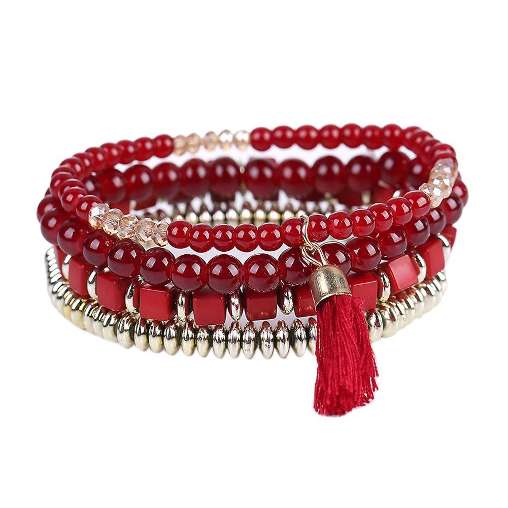 La Cabina Femme Fille Bracelet Bijou de Poignet Bangle en Perles Multicouches avec Pendentif Charmant Symbole Bonne Chance (Noir)