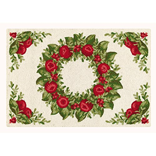 C&F Home Apple Wreath Hooked Rug, 2' x 3' , Red