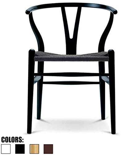 2xhome Black Wishbone Wood Armchair with Arms Open Back Open Mid Century Modern Contemporary Chair Dining Chairs Woven Black Seat Desk