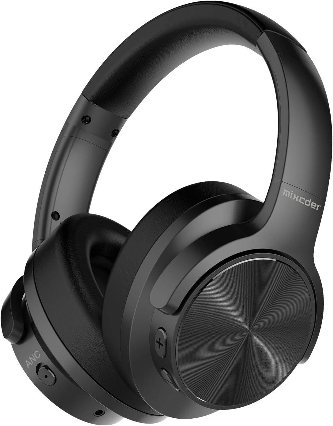 Mixcder E9 Auriculares inalámbricos con Cancelación de Ruido Activa Carga Rápida Casco Bluetooth 5.0 con Micrófono, Earpads Cómodas, 40 mm Controlador Doble, Bluetooth CSR, 35 Horas de Juego