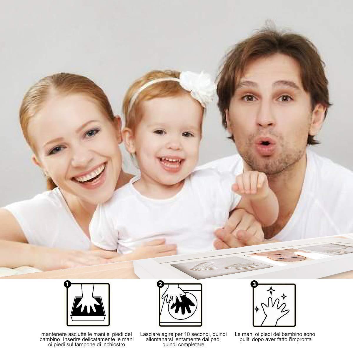Baby Handabdruck und Fußabdruck 2.2 WesKimed Baby Holz Bilderrahmen mit 2.2