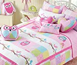 Cozy Line Home Fashions 6-Piece Pink Owl Blue Green White Dot Cotton Bedspread Quilt Bedding Set, includes 1 Quilt, 1 Sham, 4 Decorative Pillows, Christmas Gifts Set for Kids Girls, Twin Size