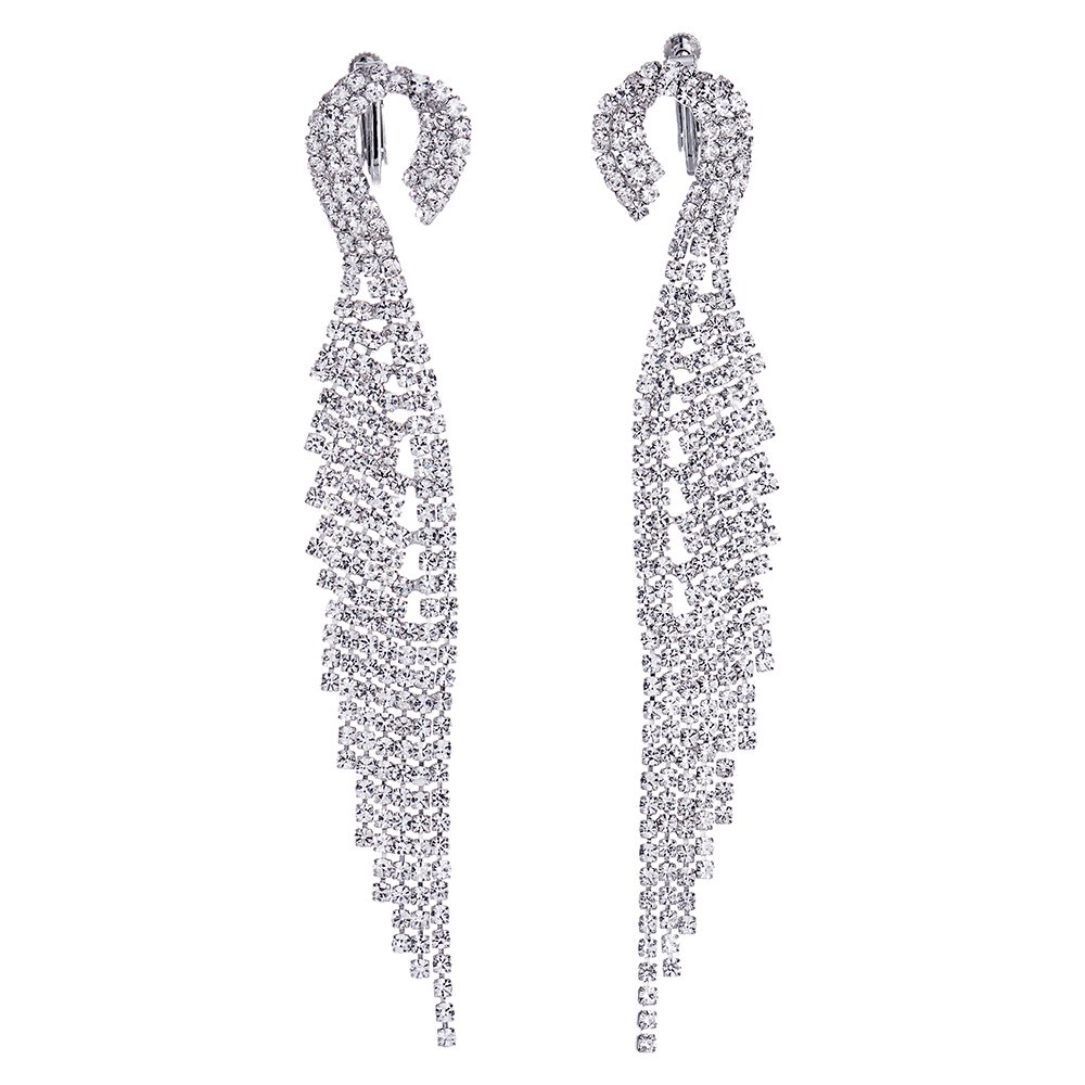 Luxury Wedding Bridal Bridesmaids Party Rhinestone Angle Wing Feather Long Dangle Clip-on Earrings(CA) COOLSTEELANDBEYOND FE-291-A-CA