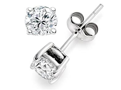 Tiny Solitaire 14k White Gold Round Diamond Studs 4 Prong (Promo)(Color- 4901500b30b5