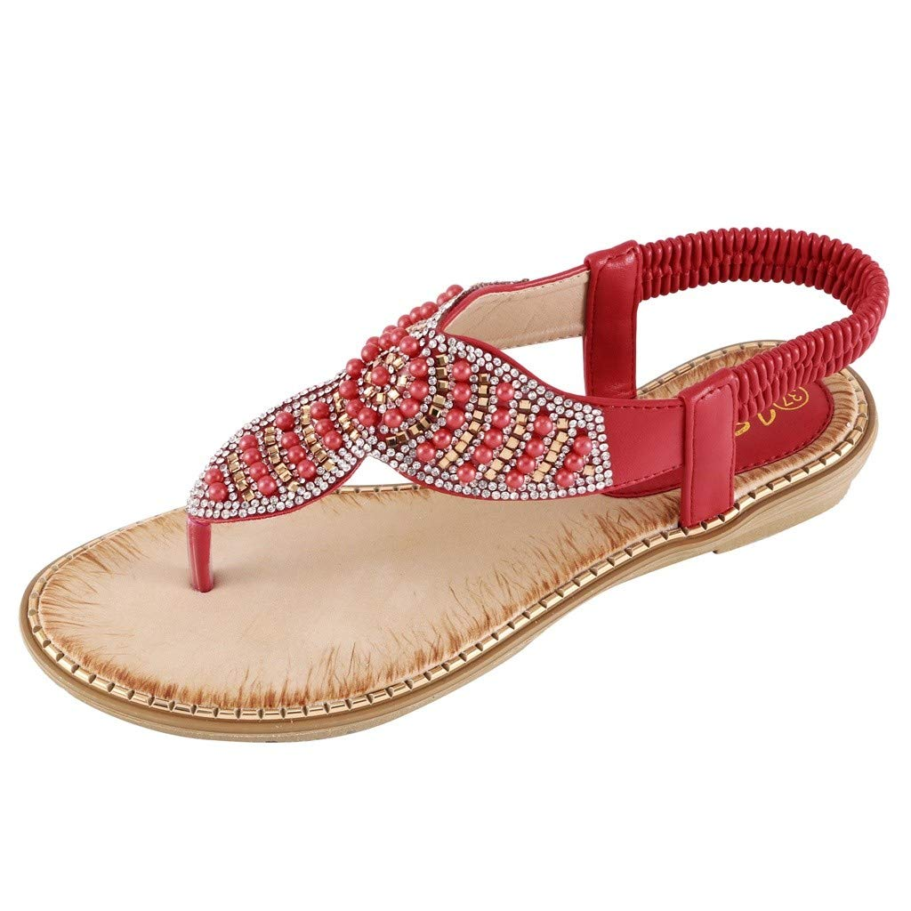 Tsmile Women Sandals Bohemia Plus Size Ladies Rhinestone Crystal Flat Sandals Gladiator T-type String Bead Shoes