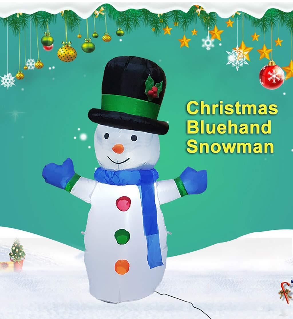 1KTon Christmas Air Blown LED Inflatable Yard Garden Decoration Snowman Hat Blue Scarf by 1KTon