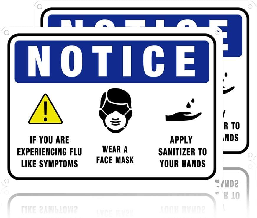 GLOBLELAND 2 Paquete 7x10 Pulgada 30 mil de Aluminio Use Mascarilla Y Aplique Letreros de Aviso de Desinfectante para Hospital O Al Aire Libre, Protección UV E Impermeable
