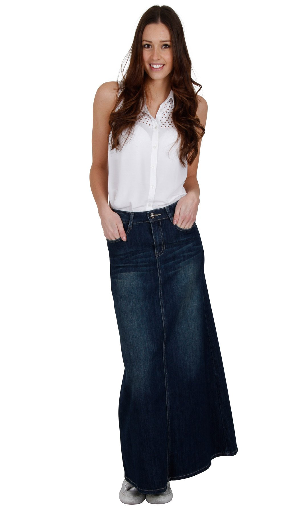 Long Dark Wash Denim Skirt SKIRT94 Womens Maxi Skirt Full Length Denim Skirt