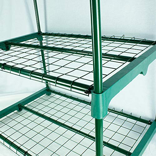 BeGrit 2 Tier Mini Greenhouse with Shelves & Cover Portable Compact Garden Growhouse Sturdy Steel Frame Flower Shelter with Reinforced PE Cover & Tie Wraps (H93cm x W49cm x L72cm)