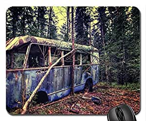 wrecked bus abandoned in a forest Mouse Pad, Mousepad by mcsharks