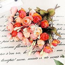 18 Flower Heads Peony Bouquet Hydrangea Decor Wedding Decoration Mariage Artificial Red Rose Silk Flowers