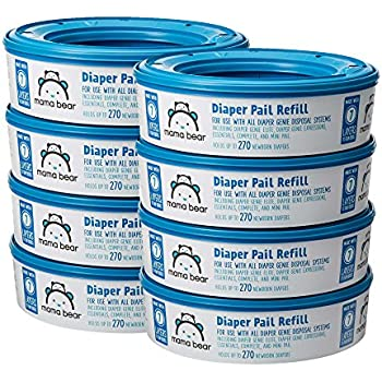Amazon Brand - Mama Bear Diaper Pail Refills for Diaper Genie Pails, 270 Count (Pack of 8)