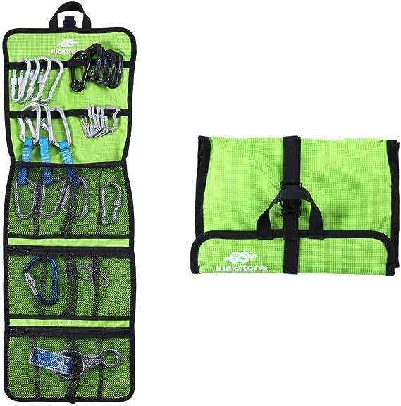 Bolsa enrollable para herramientas para escaladores, resistente y práctica, para equipo de escalada como mosquetones (verde)