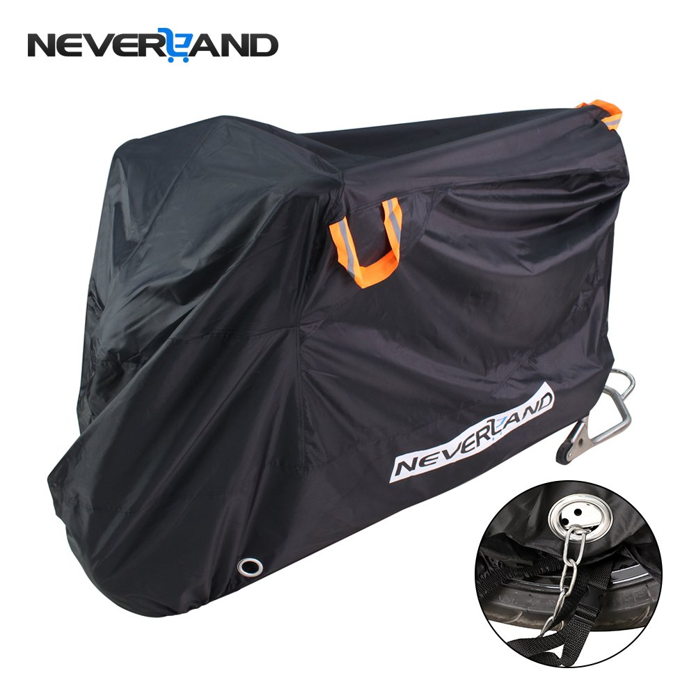 NEVERLAND Motorcycle Cover, Outdoor Waterproof 210D Denier Oxford Cloth UV Dust Protector Cover, 2 Stainless Steel Lock-Holes Fits 90\'- 98\'Road, Cruiser, Touring 2 Stainless Steel Lock-Holes Fits 90- 98Road