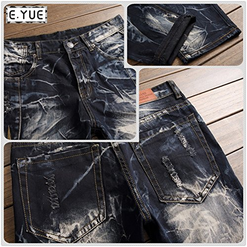 E.YUE Jeans-Herren Slim Fit Basic Style Stretch-Denim Jeans-Hose#8732