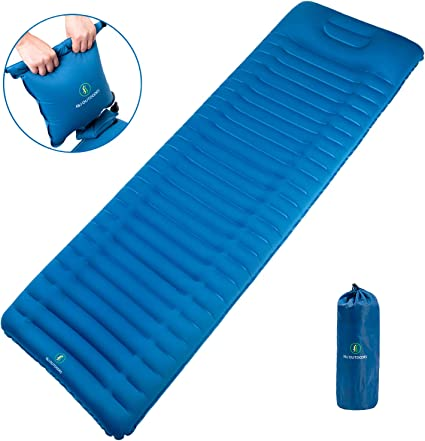 Sleeping Pad Inflatable Air Mattress Cushion With Pillow For Travel Camping