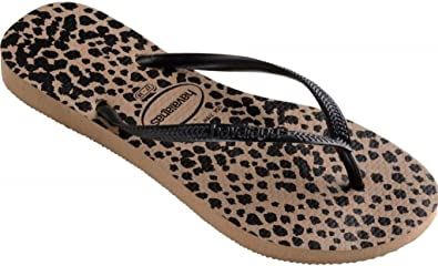 56ee61486b3 Havaianas Slim Animals Rose Gold Black Womens Summer Beach Flip Flops-40