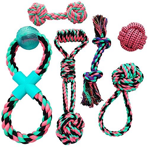 (Otterly Pets Puppy Dog Cute Pink Boutique Rope Toys Set 6-Pack Bundle - Small to Medium Breed Girl Dogs)