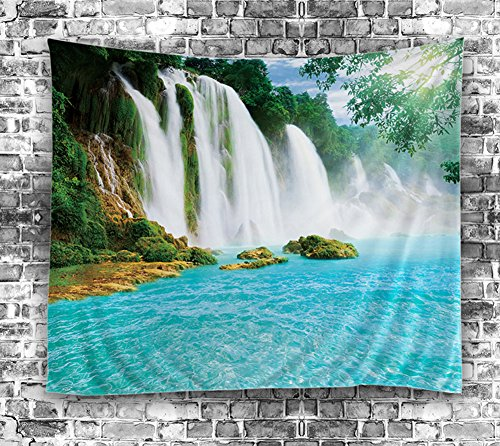 Unbranded Waterfall Tropical Oasis Tapestry 60x80 Beach Hanging Fabric Wall Decor Art