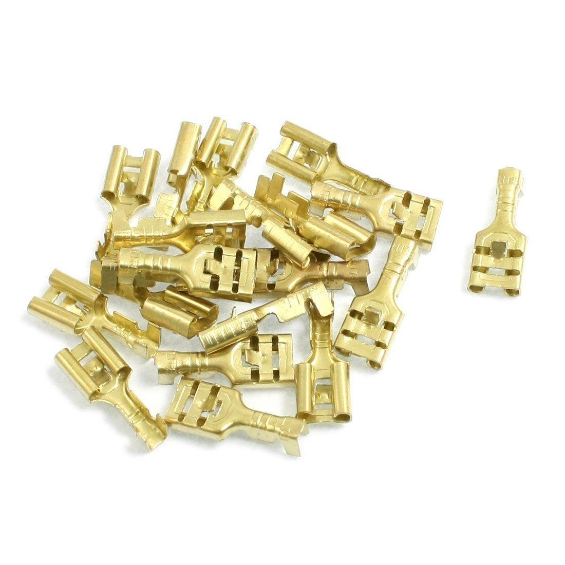 Conector de terminal de pala Terminales de laton de 6,3 mm conectores hembra de cable de pala 20 piezas R TOOGOO