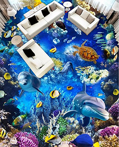 LWCX Home Decoration 3D Stereoscopic Sea World Dolphin Pvc Waterproof Floor Custom Photo Self-Adhesive 3D Floor 200X160CM