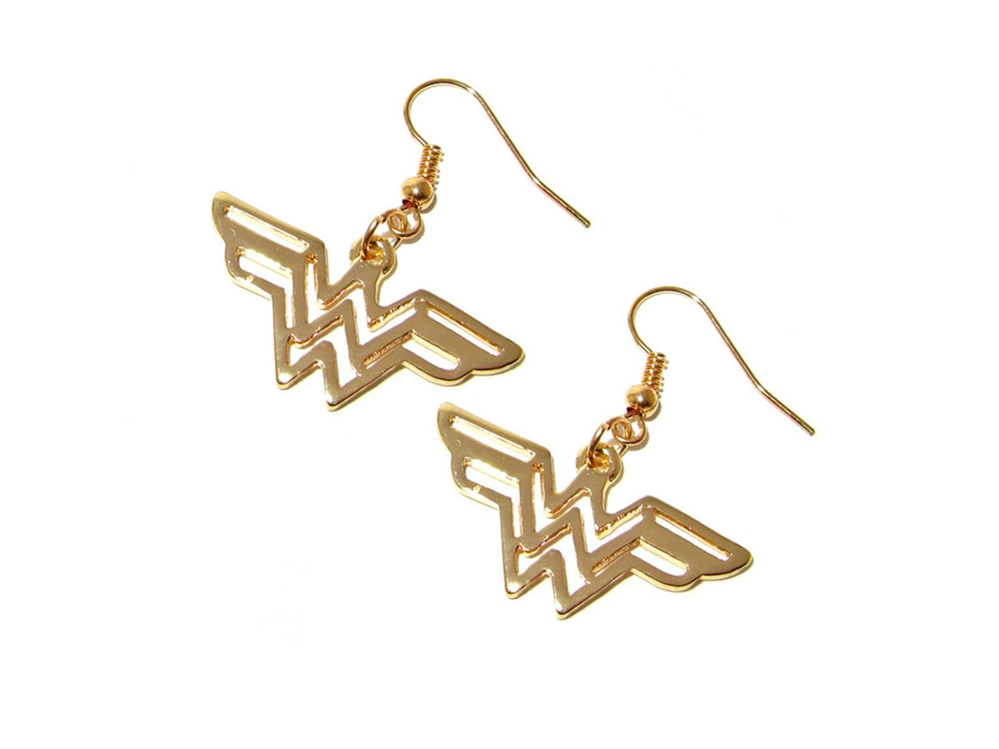 Outlander DC Wonder Woman Gold Logo Earring Dangles In Gift Box From