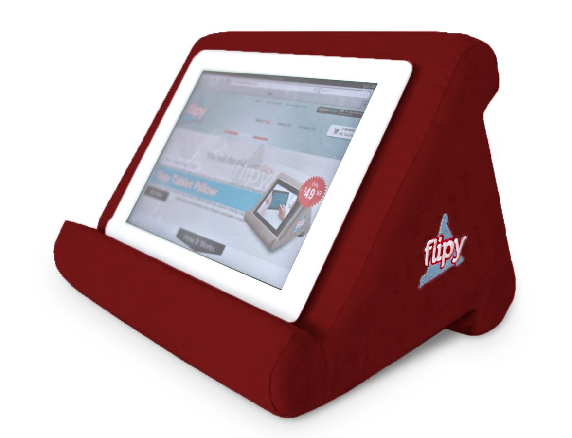 Flipy Multi-Angle Soft Pillow Lap Stand for iPads, Tablets, eReaders, Smartphones, Books, Magazines (Burgundy) by flipy