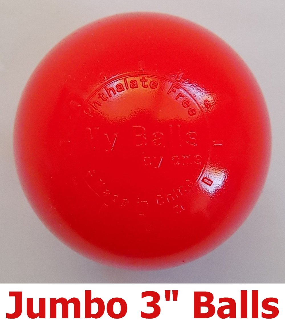 My Balls Pack of 100 Commercial Grade Red Color Jumbo 3'' Crush-Proof Ball Pit Balls - Phthalate Free, BPA Free, PVC Free, in Single Color (Red, 100)