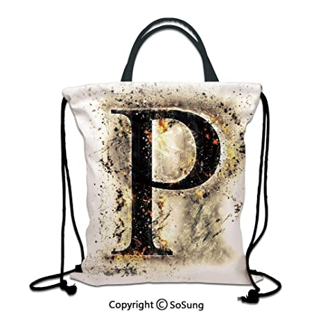 Amazon.com | Letter P 3D Print Drawstring Bag String ...