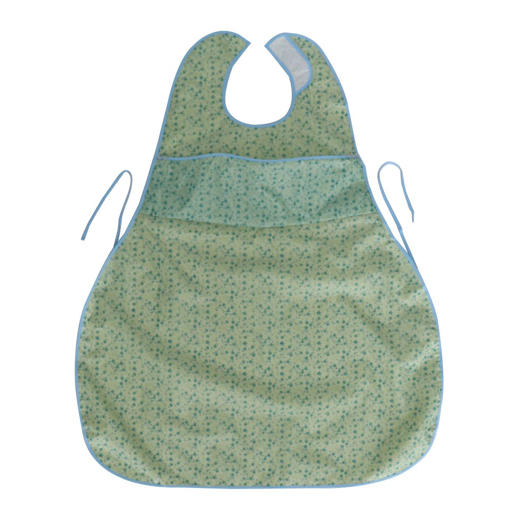 D DOLITY Waterproof Adult Mealtime Pocket Bibs Saliva Towel Cotton Aid Eating Apron for Bedridden, Patients who Lack Ability to Have Meal - Green