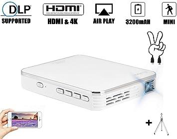 Amazon.com: Mini proyector, proyector de bolsillo 4K con ...