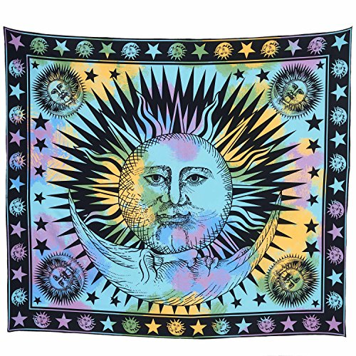 Lebather India Sun and Moon Large Wall Tapestry for Bedroom Hanging Print Beach Towel Throw Blanket Sheet 65'' x ()
