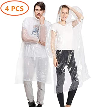 4 Pack Poncho de Lluvia Transparente con Capuchas y Mangas Senderismo y Acampada Poncho Impermeable para Hombre o Mujer HEOCAKR Desechable Chubasquero para Viajes Picnic Deportes