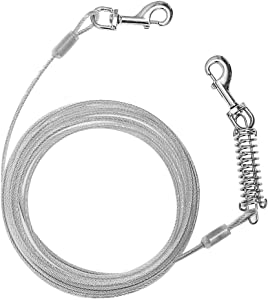 EXPAWLORER Dog Tie Out Cable for Dogs - 20 Feet Dog Lead for Yard, Dog Run Cable, Heavy Duty Up to 125lbs Dog Leash, Dog Chains Outside for Medium Large Dog