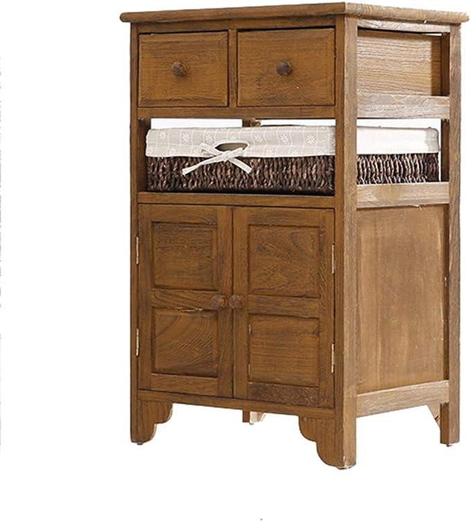 WANGYONG Vintage de Madera sólida del gabinete del cajón, Rattan ...