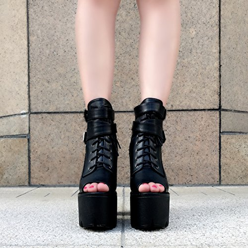 de de Sandalias XiaoGao alto tacon Black 15 cm w84xnSxqA