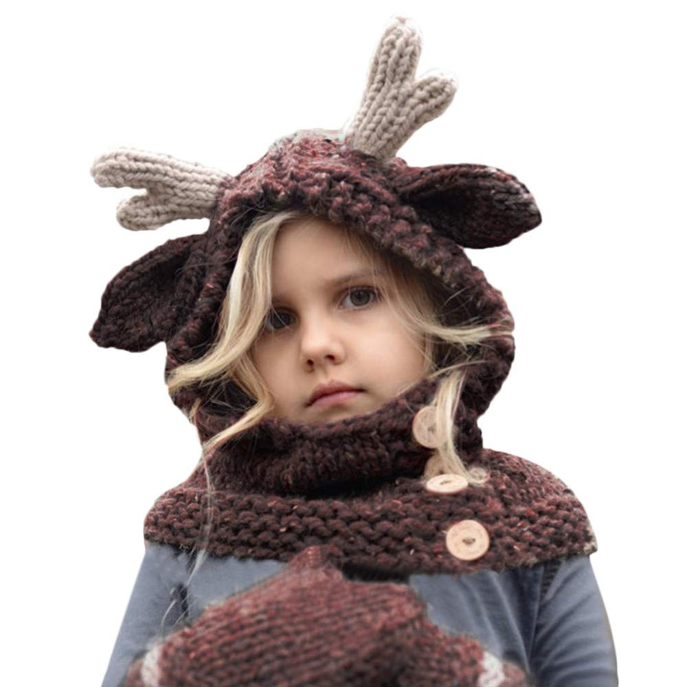WARMSHOP Kids Girls Autumn Winter Cute Animal Knitted Coif Hat Adjustable Stripe Scarf Beanies Hats with Warm Gloves Beige)