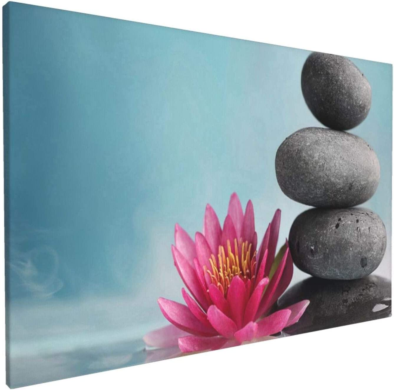 Abstract Wall Art Gallery Wall Decor, Triple Stone Lotus Wall Paintings, Farmhouse Decor for the Home, Wall Pictures for Living Room Frameless Wall Hanging Decor Paintings 18x12 Inch