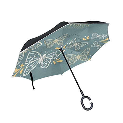 be2e149e7dc0 Amazon.com : Jojogood Butterflies Inverted Umbrella Reverse Auto ...