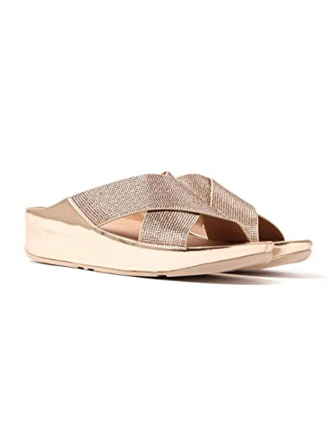 Fitflop Womens Crystall Slide Cross Strap Sandals - Rose Gold
