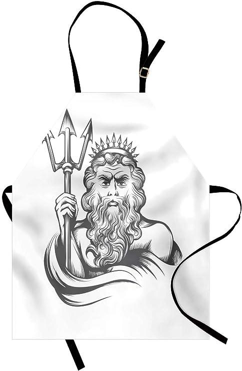 Delantal de mitología, dibujo a lápiz de un rey barbudo que ...