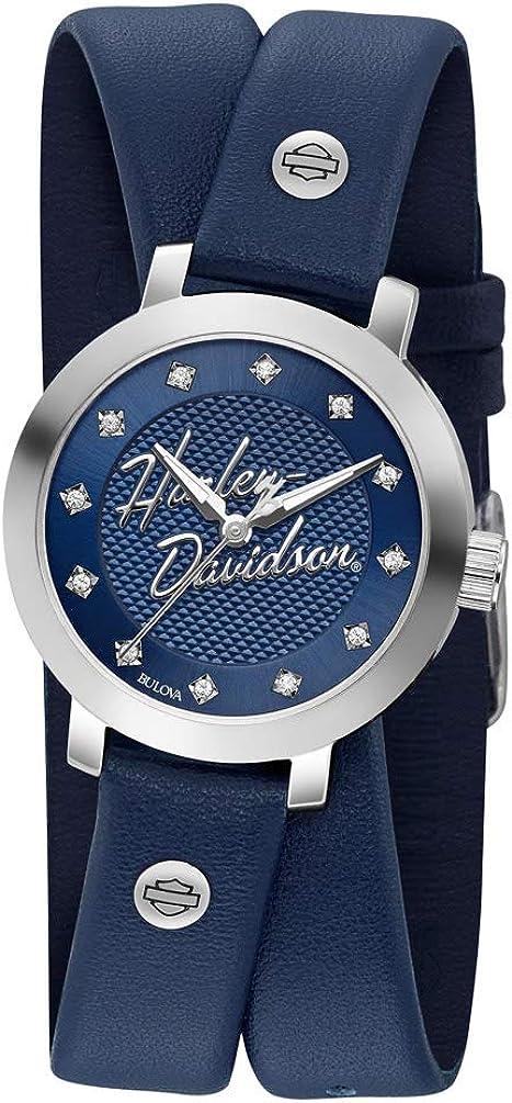 Harley-Davidson 76L189 - Reloj de piel para mujer, color azul