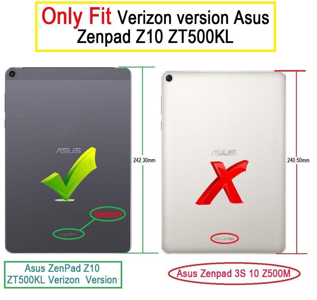 KuGi Asus Zenpad Z10 ZT500KL case - Ultra Lightweight Slim Smart Cover Case for 9.7 inch ASUS Zenpad Z10 ZT500KL Verizon 4G Let Android 6.0 Tablet (Black) by KuGi (Image #2)